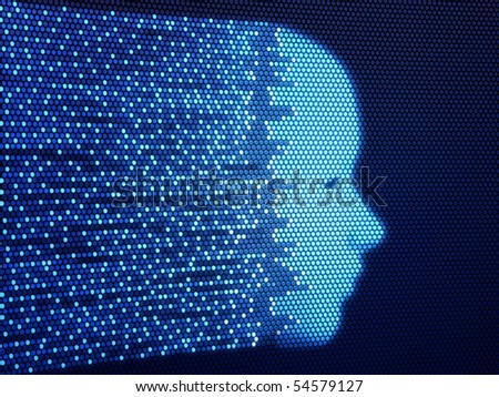 Digital human face reconstruction (3d render) - stock photo
