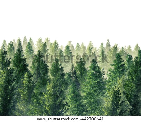Digital Illustration 3d Rendered forest