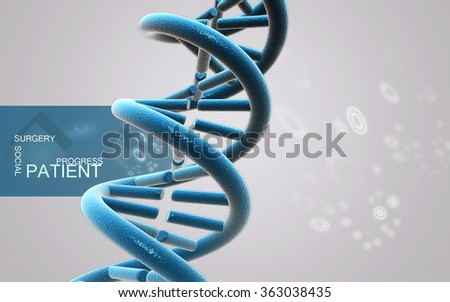Digital illustration DNA structure in color background
