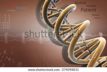 Digital illustration DNA structure in color background  - stock photo