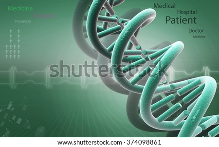 Digital illustration DNA structure in coloraa background  - stock photo