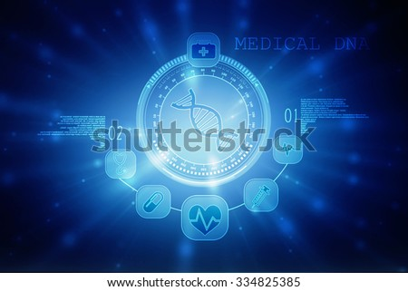 Digital illustration DNA structure in colour background