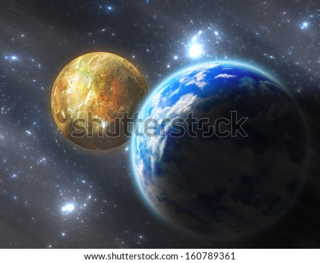 Digital Illustration Earth-like planet with moon