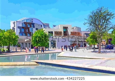 Digital illustration from a photograph of the exterior of the Scottish Parliament Building, Holyrood, Edinburgh, Scotland - stock photo