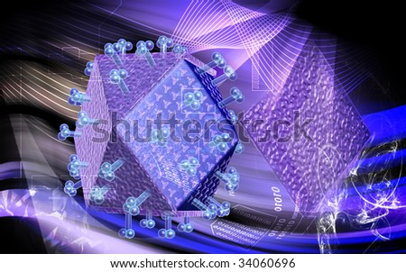 Digital illustration HIV  in colour background