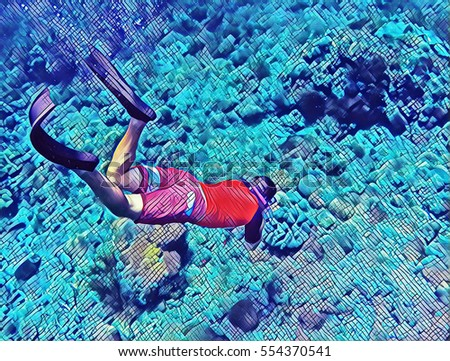 Digital illustration - Man dives to coral reef. Snorkeler and coral reef. Snorkeler in the deep blue sea. Sea life underwater. Man snorkeling in mask. Freediving sport activity. Sportsman underwater.