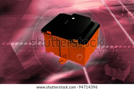 Digital illustration of  a Battery box in colour background