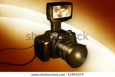 Digital illustration of a camera in colour background