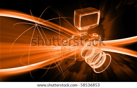 Digital illustration of a camera in colour background - stock photo