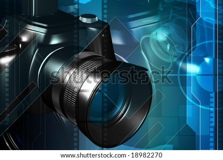 Digital illustration of a camera with blue light - stock photo