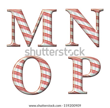 Digital illustration of a candy cane alphabet: Letters M,N,O,P - stock photo