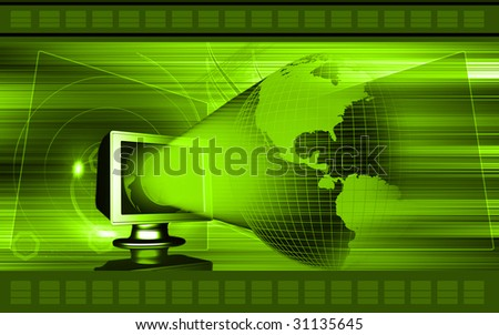 Digital illustration of a computer and earth 	 - stock photo