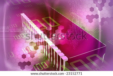 Digital illustration of  a computer chip - stock photo