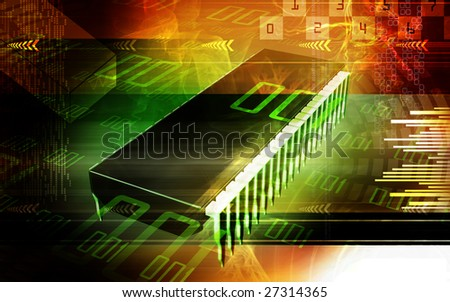 Digital illustration of  a computer chip