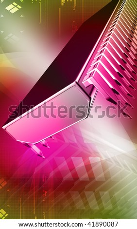 Digital illustration of  a computer chip in colour background - stock photo