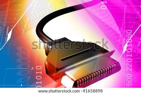 Digital illustration of  a computer input USB in colour background - stock photo