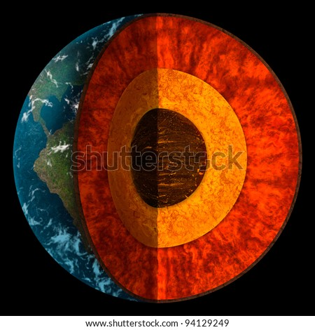 digital illustration of a cross-section of planet Earth showing individual layers of the core - stock photo