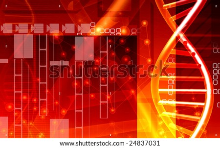 Digital illustration of a DNA and cells	 - stock photo