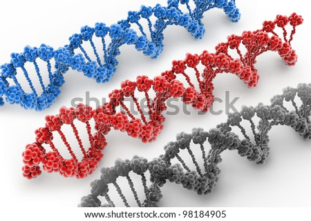 Digital illustration of a DNA in white background - stock photo