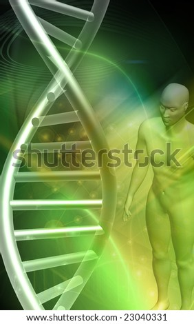 Digital illustration of a DNA model and human body in green background	 - stock photo