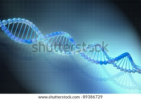 Digital illustration of a DNA model in blue background - stock photo