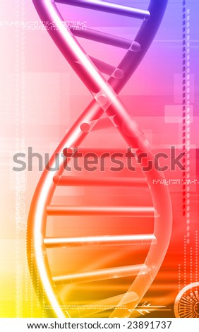 Digital illustration of a DNA model in brown colour	 - stock photo