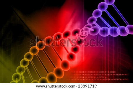 Digital illustration of a DNA model in red colour	 - stock photo