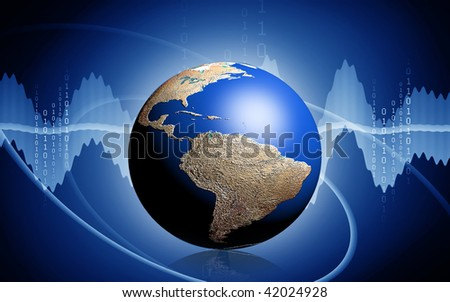 Digital illustration of  a earth in colour background