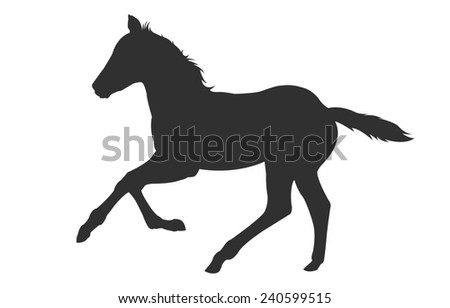 Digital illustration of a filly colt shadow silhouette
