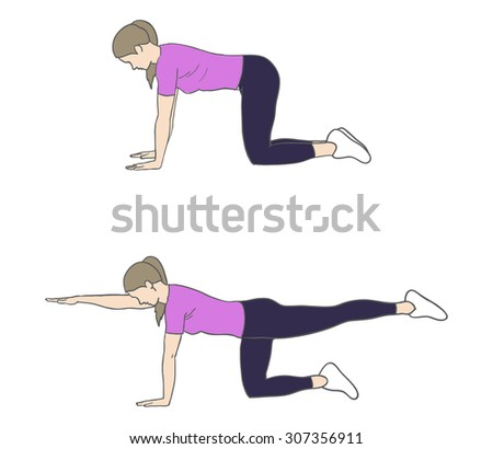 Digital illustration of a fitness woman doing bird dog exercise - stock photo
