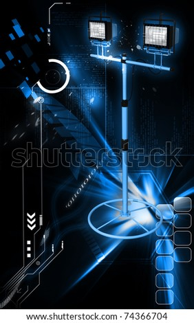 Digital illustration of  a flood light in colour background