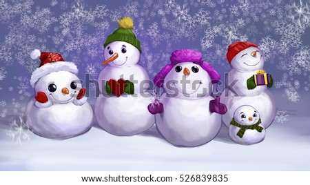 Digital illustration of a funny snowmen standing in group on the background of falling snow