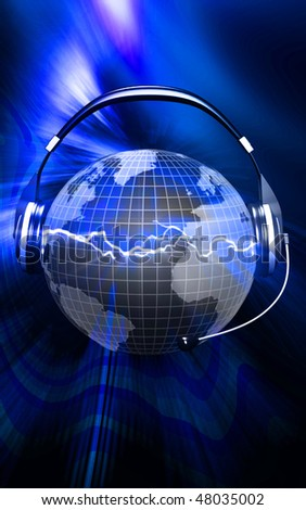Digital illustration of a globe with head phone	 - stock photo