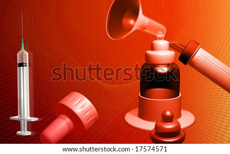 Digital illustration of a gynaecological   instrument in red background