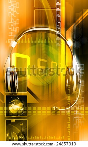 Digital illustration of a  head phone 	 - stock photo
