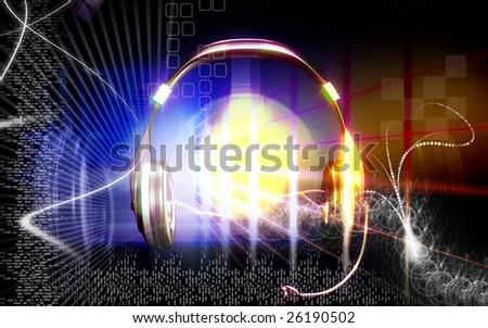 Digital illustration of a  head phone  - stock photo