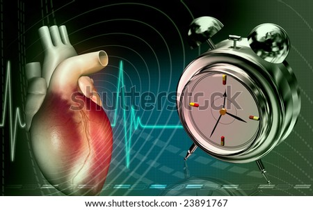 Digital illustration of a heart in colour background with alarm clock	 - stock photo