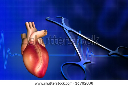 Digital illustration of a heart with eco cardio gram pulse and surgical scissor	 - stock photo