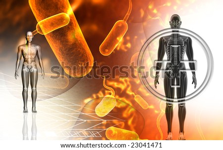 Digital illustration of a human body in colour background	 - stock photo