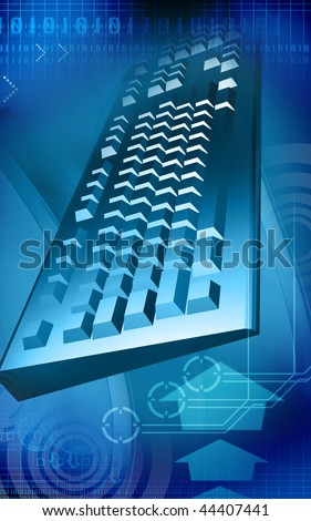 Digital illustration of a keyboard in   colour background - stock photo