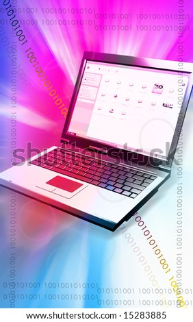 Digital illustration Of a laptop in pink and blue lights