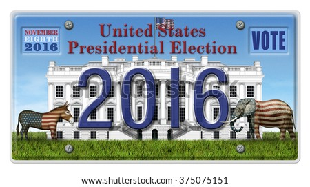 Digital illustration of a license Plate displaying the presidential election year 2016, the White House, a Republican elephant, a Democrat donkey. Includes a clipping path. - stock photo