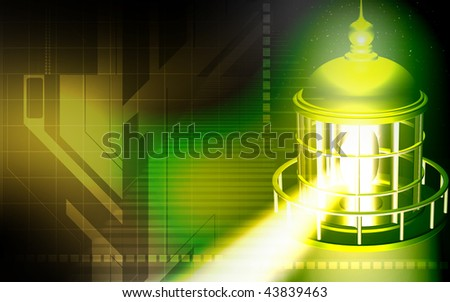 Digital illustration of a light house in colour background - stock photo
