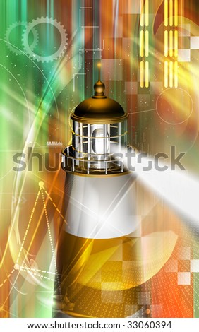 Digital illustration of a light house with blue light - stock photo