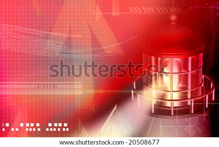 Digital illustration of a light house with red light - stock photo