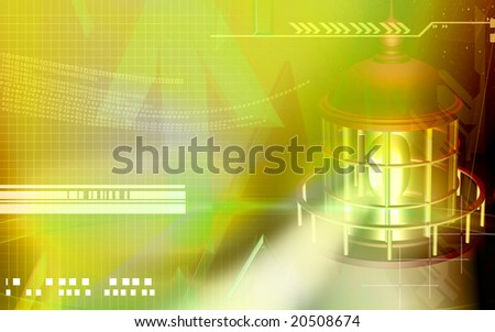 Digital illustration of a light house with yellow light - stock photo