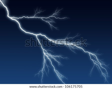 Digital illustration of a lightning bolt at night dark blue sky - stock photo
