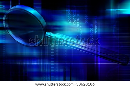 Digital illustration of a magnifying glass - stock photo