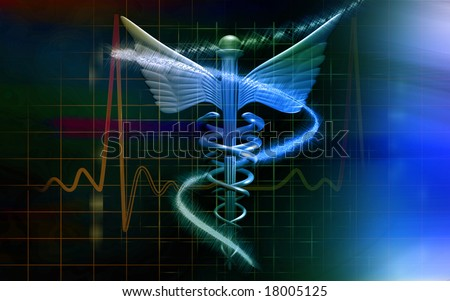 Digital illustration of a medical logo in blue colour	 - stock photo