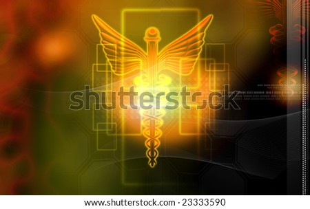 Digital illustration of a medical logo in brown colour - stock photo